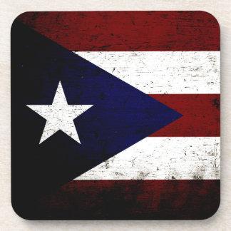 Bandera negra de Puerto Rico del Grunge Posavasos De Bebida