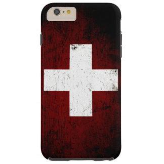 Bandera negra de Suiza del Grunge Funda De iPhone 6 Plus Tough