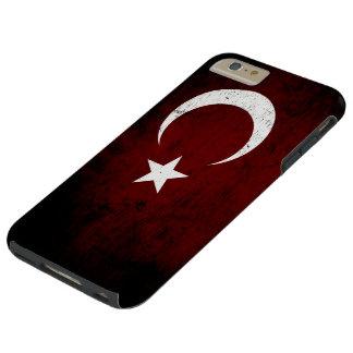 Bandera negra de Turquía del Grunge Funda De iPhone 6 Plus Tough