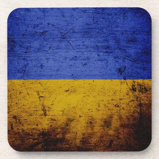 Bandera negra de Ucrania del Grunge Posavasos De Bebida