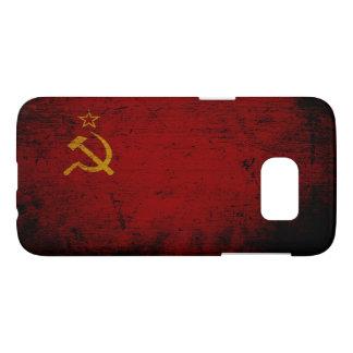 Bandera negra de Unión Soviética del Grunge Funda Samsung Galaxy S7