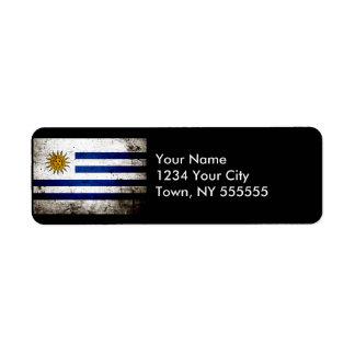 Bandera negra de Uruguay del Grunge Etiqueta De Remitente