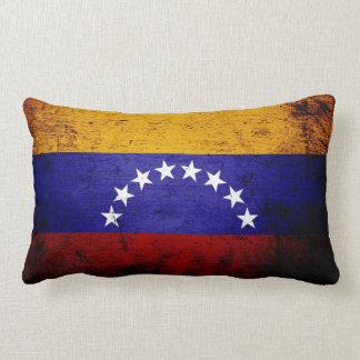 Bandera negra de Venezuela del Grunge Cojín Lumbar