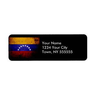 Bandera negra de Venezuela del Grunge Etiqueta De Remite