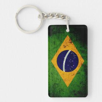 Bandera negra del Brasil del Grunge Llavero Rectangular Acrílico A Doble Cara