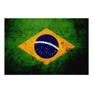 Bandera negra del Brasil del Grunge Impresión Fotográfica