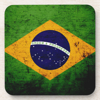 Bandera negra del Brasil del Grunge Posavaso