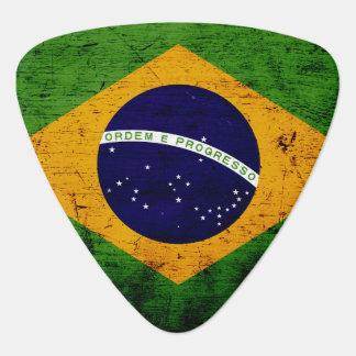 Bandera negra del Brasil del Grunge Púa De Guitarra