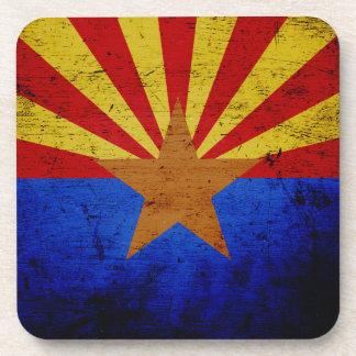 Bandera negra del estado de Arizona del Grunge Posavasos De Bebida