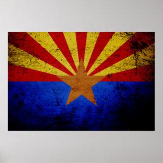 Bandera negra del estado de Arizona del Grunge Póster