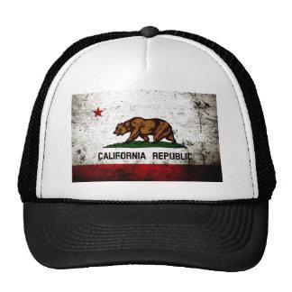 Bandera negra del estado de California del Grunge Gorro