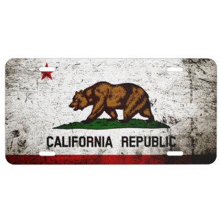 Bandera negra del estado de California del Grunge Placa De Matrícula
