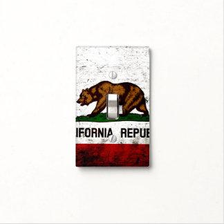 Bandera negra del estado de California del Grunge Tapa Para Interruptor