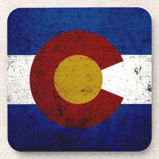 Bandera negra del estado de Colorado del Grunge Posavasos