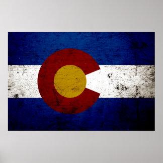 Bandera negra del estado de Colorado del Grunge Póster