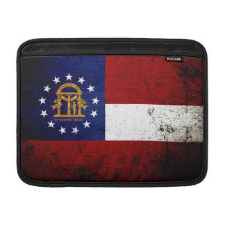 Bandera negra del estado de Georgia del Grunge Funda MacBook