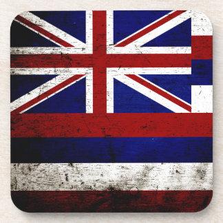 Bandera negra del estado de Hawaii del Grunge Posavasos De Bebida