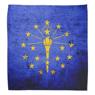Bandera negra del estado de Indiana del Grunge Bandana