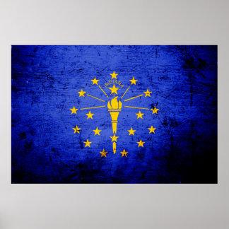 Bandera negra del estado de Indiana del Grunge Póster