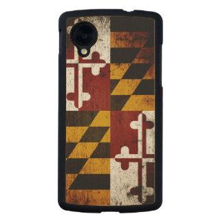 Bandera negra del estado de Maryland del Grunge Funda De Nexus 5 Carved® De Arce