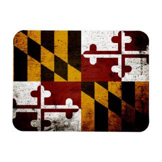 Bandera negra del estado de Maryland del Grunge Iman Rectangular