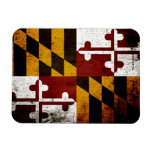 Bandera negra del estado de Maryland del Grunge Imán Rectangular