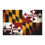 Bandera negra del estado de Maryland del Grunge Impresión De Lienzo