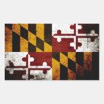 Bandera negra del estado de Maryland del Grunge Rectangular Pegatinas