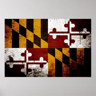 Bandera negra del estado de Maryland del Grunge Póster