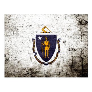 Bandera negra del estado de Massachusetts del Postales
