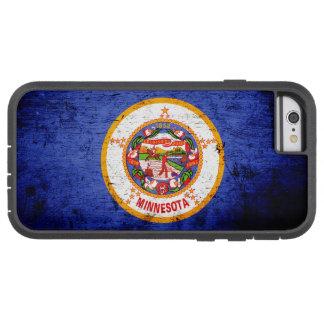 Bandera negra del estado de Minnesota del Grunge Funda De iPhone 6 Tough Xtreme