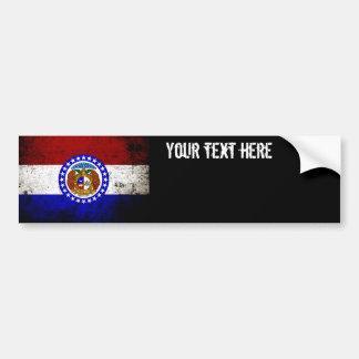 Bandera negra del estado de Missouri del Grunge Pegatina De Parachoque