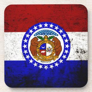 Bandera negra del estado de Missouri del Grunge Posavasos