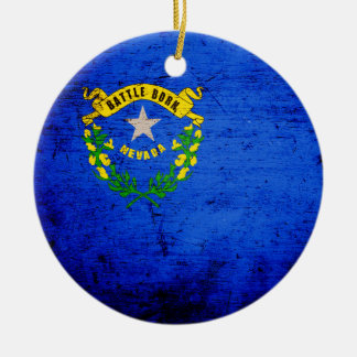 Bandera negra del estado de Nevada del Grunge Adorno Navideño Redondo De Cerámica
