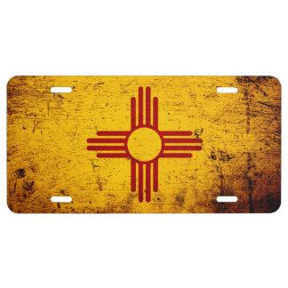 Bandera negra del estado de New México del Grunge Placa De Matrícula