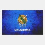 Bandera negra del estado de Oklahoma del Grunge Pegatina Rectangular