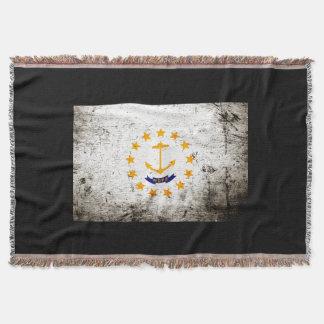 Bandera negra del estado de Rhode Island del Manta