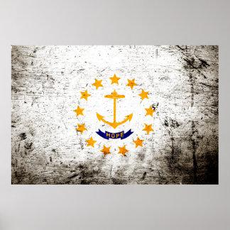 Bandera negra del estado de Rhode Island del Póster
