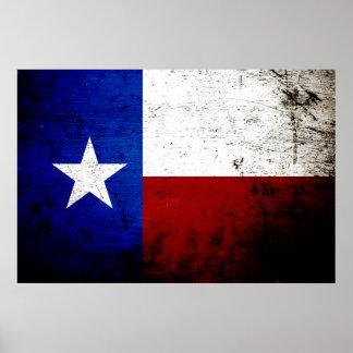 Bandera negra del estado de Tejas del Grunge Póster