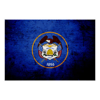 Bandera negra del estado de Utah del Grunge Póster