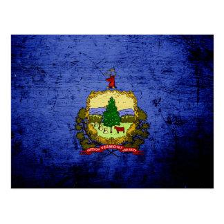 Bandera negra del estado de Vermont del Grunge Tarjetas Postales