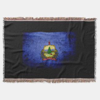 Bandera negra del estado de Vermont del Grunge Manta