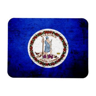 Bandera negra del estado de Virginia del Grunge Imán De Vinilo