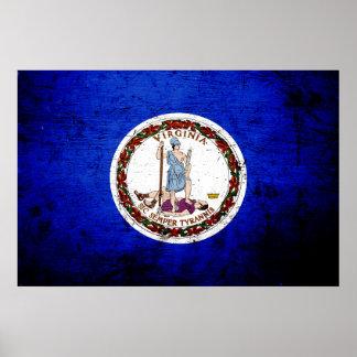 Bandera negra del estado de Virginia del Grunge Póster