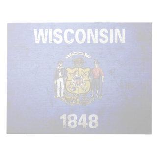 Bandera negra del estado de Wisconsin del Grunge Blocs De Papel