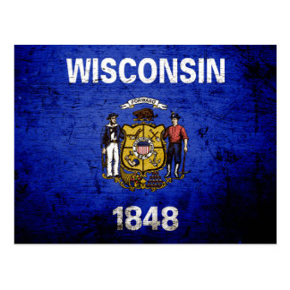 Bandera negra del estado de Wisconsin del Grunge Tarjetas Postales