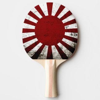 Bandera negra del sol naciente de Japón del Grunge Pala De Ping Pong