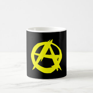 Bandera negra y amarilla del capitalismo de taza