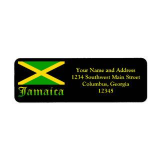 Bandera negro verde y amarillo de Jamaica Etiquetas De Remite