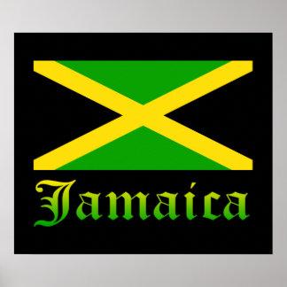 Bandera, negro, verde y amarillo de Jamaica Posters